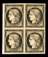* N°3f, 20c Noir, Impression De 1862 En Bloc De Quatre (1 Ex**), Grande Fraîcheur, Très Jolie Pièce (certificat)   Quali - 1849-1850 Ceres