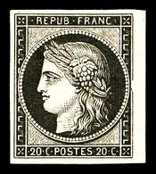 * N°3f, 20c Noir Sur Jaune Impression De 1862 Bdf, Pelurage.   Qualité: *   Cote: 500 Euros - 1849-1850 Ceres