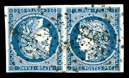 O N°4c, 25c Bleu En Paire Tête-bêche, Oblitération PC, TRES RARE, SUPERBE (signé Calves/Margues/certificats)    Qualité: - 1849-1850 Ceres