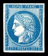 * N°4d, 25c Bleu, Impression De 1862. TB (certificat)   Qualité: *   Cote: 600 Euros - 1849-1850 Ceres