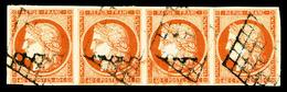O N°5, 40c Orange: Bande De Quatre Horizontale, Obl Grille, Jolie Pièce, TB (signé/certificat)   Qualité: O   Cote: 4300 - 1849-1850 Ceres