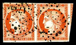 O N°5, 40c Orange En Paire Obl PC , Un Voisin, TTB (certificat)   Qualité: O   Cote: 1200 Euros - 1849-1850 Ceres