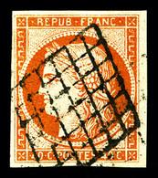 O N°5, 40c Orange, Oblitération Grille, Jolie Pièce, TB (signé Calves/Brun)   Qualité: O   Cote: 500 Euros - 1849-1850 Ceres