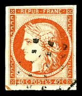 O N°5, 40c Orange Obl Gros Points. TB (signé Calves/certificat)   Qualité: O   Cote: 525 Euros - 1849-1850 Ceres