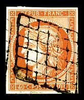 O N°5a, 40c Orange Vif Obl Grille, TTB (certificat)   Qualité: O   Cote: 575 Euros - 1849-1850 Ceres