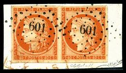 O N°5a, 40c Orange-vif En Paire Obl PC '601' Sur Son Support, Pièce Choisie, TTB (signé/certificat)   Qualité: O   Cote: - 1849-1850 Ceres