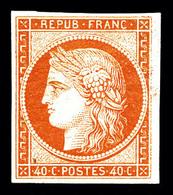 * N°5A, 40c Orange, Quatre Belles Marges, Très Frais. TTB (certificats)   Qualité: *   Cote: 3600 Euros - 1849-1850 Ceres