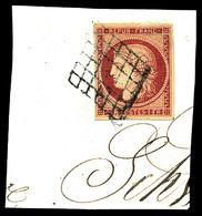 O N°6, 1F Carmin Obl Grille Sur Son Support. TB (certificat)   Qualité: O   Cote: 950 Euros - 1849-1850 Ceres
