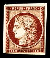** N°6B, 1F Carmin-brun Foncé, Fraîcheur Postale, SUPERBE, R.R.R (certificat)   Qualité: ** - 1849-1850 Ceres