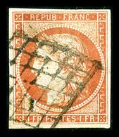 O N°7, 1F Vermillon Oblitéré Grille, Restauré, Belle Présentation (signé Brun/certificat)   Qualité: O   Cote: 20000 Eur - 1849-1850 Ceres