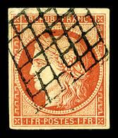 O N°7a, 1F Vermillon Vif, Oblitération Grille, Très Jolie Nuance, SUPERBE. R.R.R (signé Brun/certificats)    Qualité: O  - 1849-1850 Ceres