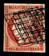O N°7a, 1F Vermillon-vif Foncé, Oblitération Grille, Nuance Rare, Très Beau (signé Calves/certificat)   Qualité: O   Cot - 1849-1850 Ceres