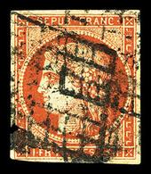 O N°7a, 1F Vermillon Vif, Oblitération Grille, Rare Et Très Beau (signé Calves/Brun/certificat)   Qualité: O   Cote: 265 - 1849-1850 Ceres