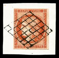 O N°7a, 1F Vermillon Vif Oblitération Grille Légère Sur Son Support, Grande Fraîcheur, SUPERBE (signé Brun/certificats)  - 1849-1850 Ceres