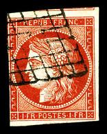 O N°7a, 1f Vermillon Très Vif, Oblitération Grille Légère, Filet Latéral Gauche Touché Et Marge Supérieure Avec Voisin,  - 1849-1850 Ceres