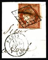 O N°7a, 1F Vermillon Vif Oblitération Grille Sur Fragment + Cachet à Date Paris Du 11 Fev 49, Filet Touché Mais Très Jol - 1849-1850 Ceres