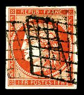 O N°7, 1F Vermillon Orange, Jolie Couleur, Mais Fente Dans La Grecque Gauche, Ex Collection 'La Fayette' (lot N°57). R.R - 1849-1850 Ceres