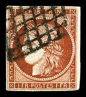 O N°7B, 1F Vermillon Terne, Quatre Belles Marges, TTB (signé Brun/Calves/Scheller/certificats)   Qualité: O   Cote: 1800 - 1849-1850 Ceres