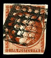 O N°7B, 1F Vermillon Terne, Filet Effleuré Dans Un Angle Sinon TB, RRE (signé Scheller/Brun/certificats)   Qualité: O    - 1849-1850 Ceres