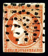 O N°7c, 1F Vermillon Foncé, Oblitération Gros Points, Filet Inférieur Touché, Belle Présentation, R.R. (signé Calves/cer - 1849-1850 Ceres
