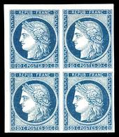 (*) N°8, Non émis, 20c Bleu Sur Jaunâtre Nuance Foncée En Bloc De Quatre Petit Coin De Feuille, Toujours Sans Gomme. SUP - 1849-1850 Ceres