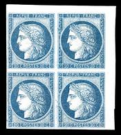 ** N°8b, Non émis, 20c Bleu Sur Azuré En Bloc De Quatre Coin De Feuille (1ex*), Piece D'une Qualité Exceptionnelle, R.R. - 1849-1850 Ceres