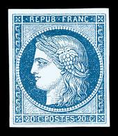 * N°8b, Non émis, 20c Bleu Sur Azuré, Quatre Belles Marges, Frais Et Très Beau (certificat)    Qualité: *   Cote: 3800 E - 1849-1850 Ceres