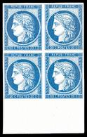 * N°8f, Non émis, 20c Bleu Impression De 1862 En Bloc De Quatre Bas De Feuille, Fraîcheur Postale, SUP (certificat)   Qu - 1849-1850 Ceres