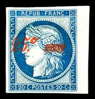 * N°8A, Non émis, 25c Sur 20c Bleu, Bord De Feuille Latéral Droit, Fraîcheur Postale. SUPERBE. R.R.R. (certificats)   Qu - 1849-1850 Ceres