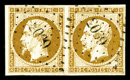 O N°9, 10c Bistre En Paire Horizontale Obl PC '2039', TTB (signé Scheller/certificat)   Qualité: O   Cote: 1700 Euros - 1852 Louis-Napoleon