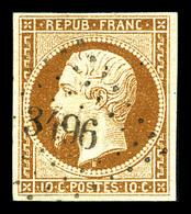 O N°9, 10c Bistre-jaune, Obl PC '3496', TTB (signé Brun/certificat)   Qualité: O   Cote: 750 Euros - 1852 Louis-Napoleon