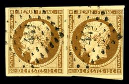 O N°9a, 10c Bistre-brun En Paire Horizontale Oblitération PC 441, TB (certificat)   Qualité: O   Cote: 2300 Euros - 1852 Louis-Napoleon