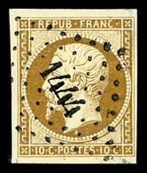 O N°9a, 10c Bistre-brun Obl PC 1444, TTB (signé Margues/certificat)   Qualité: O   Cote: 900 Euros - 1852 Louis-Napoleon