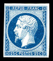 ** N°10, 25c Bleu, Quatre Belles Marges, Fraîcheur Postale .SUPERBE. R.R. (signé Brun/certificat)   Qualité: ** - 1852 Louis-Napoleon