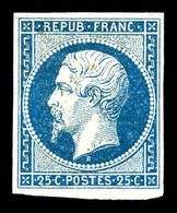 ** N°10, 25c Bleu, Pli Mais Très Belle Présentation. (certificat)   Qualité: **   Cote: 5500 Euros - 1852 Louis-Napoleon