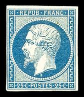 * N°10, 25c Bleu, TB. R.R. (certificat)   Qualité: *   Cote: 5500 Euros - 1852 Louis-Napoleon