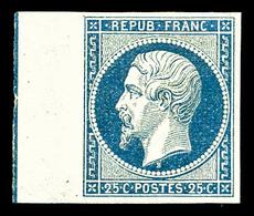 ** N°10b, 25c Bleu Bord De Feuille Avec Filet D'encadrement, SUPERBE. R.R.R (signé Calves/certificat)   Qualité: ** - 1852 Louis-Napoleon