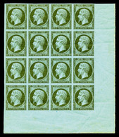** N°11, 1c Olive, Bloc De 16 Exemplaires Coin De Feuille Integral, Léger Pli Sur 4ex, Fraîcheur Postale. Très Jolie Piè - 1853-1860 Napoleon III
