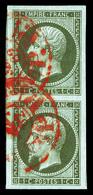 O N°11, 1c Bronze, Superbe Paire Obl Cachet Rouge Des Imprimés (certificat)   Qualité: O - 1853-1860 Napoleon III