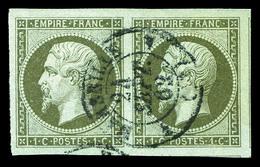 O N°11, 1c Bronze, Superbe Paire Obl Càd (certificat)   Qualité: O - 1853-1860 Napoleon III