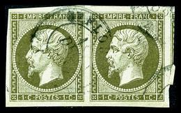 O N°11, 1c Olive En Paire, Grandes Marges, Quatre Voisins, SUP (certificat)   Qualité: O - 1853-1860 Napoleon III