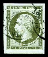 O N°11, 1c Olive, Quatre Belles Marges, Deux Voisins, Pièce Choisie (signé/certificat)   Qualité: O - 1853-1860 Napoleon III