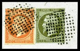 O 1c Olive + 40c Orange (N°16) Obl Cercle De Points Sur Petit Fragment, R.R. (signé Brun/certificat)   Qualité: O - 1853-1860 Napoleon III