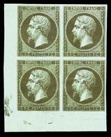 ** N°11c, 1c Mordoré En Bloc De Quatre Coin De Feuille, Fraîcheur Postale. SUP (signé Brun/certificats)   Qualité: ** - 1853-1860 Napoleon III