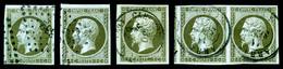 O 1c, Ensemble Composé De 3 Ex Avec Obl Différentes + Une Paire, TB/TTB   Qualité: O   Cote: 565 Euros - 1853-1860 Napoleon III