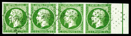 O N°12, 5c Vert-jaune, Bande De Quatre Bord De Feuille Avec Filet D'encadrement. SUPERBE. R.R. (signé Scheller/certifica - 1853-1860 Napoleon III