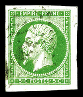 O N°12, 5c Vert-jaune, Grandes Marges, Pièce Choisie (signé Brun)   Qualité: O - 1853-1860 Napoleon III
