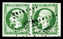 O N°12c, 5c Vert Foncé Sur Vert En Paire Horizontale, Pièce Choisie, TTB (certificat)   Qualité: O - 1853-1860 Napoleon III