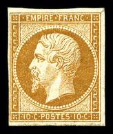 * N°13A, 10c Bistre Type I. TB (signé Brun)   Qualité: *   Cote: 900 Euros - 1853-1860 Napoleon III