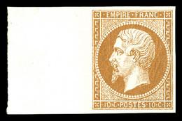 ** N°13B, 10c Brun-clair Type II Bord De Feuille Latéral, Fraîcheur Postale, SUP (signé Calves/certificat)   Qualité: ** - 1853-1860 Napoleon III